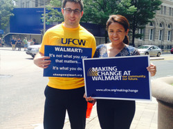 Sam Schwartz and Jessica Mendoza Uriol at an action for UFCW Local 1776